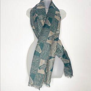 Vintage Zebra print cashmere fringe long scarf